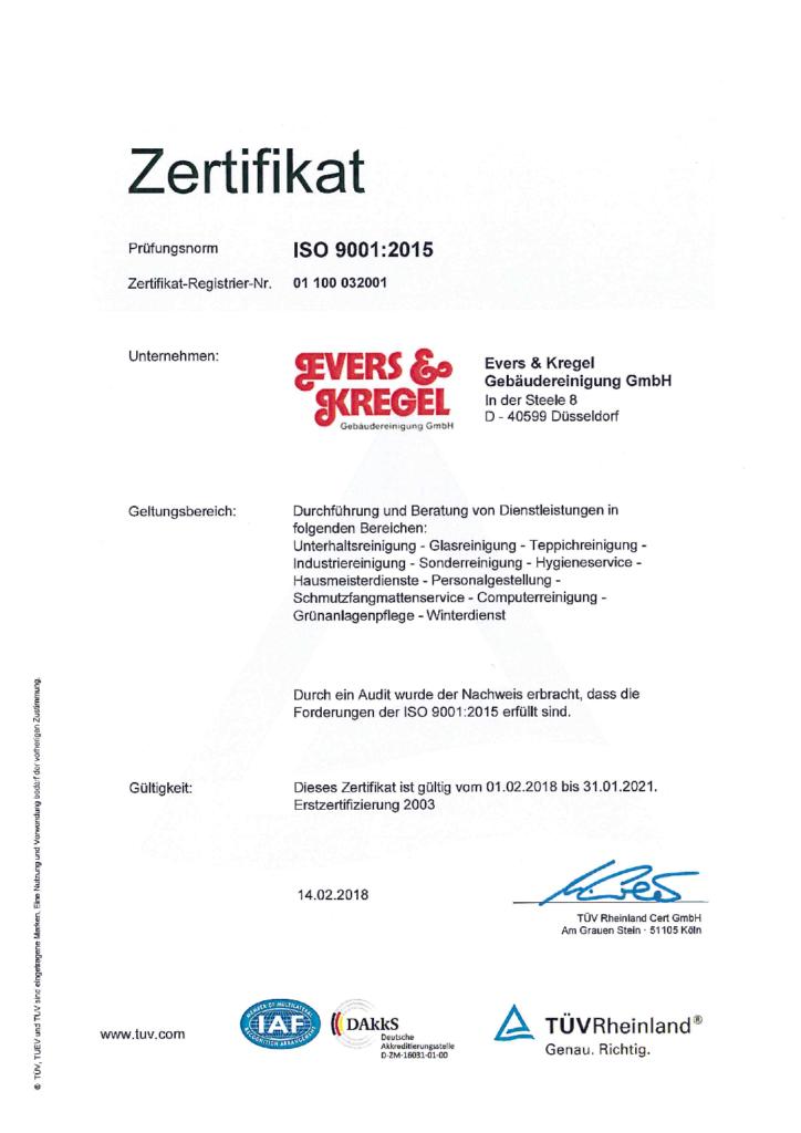 Evers und Kregel Zertifikat
