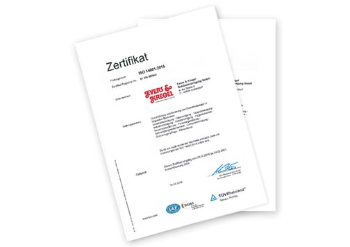 Evers und Kregel Zertifikat Qualitaetsmanagement